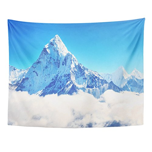 Breezat Tapestry Blue Snowy Mountain Peak Everest Highest in the World National Park Nepal Mount Home Decor Wall Hanging for Living Room Bedroom Dorm 60x80 Inches