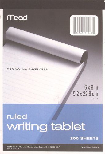 - Mead Wide Ruled Writing Tablet, 6 x 9 Inches, 200 Sheets (70610)