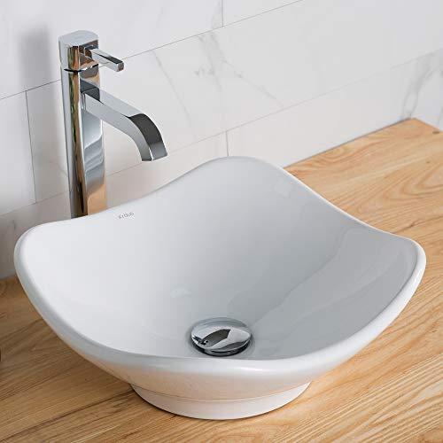 - Kraus C-KCV-135-1007CH White Tulip Ceramic Sink and Ramus Faucet Chrome