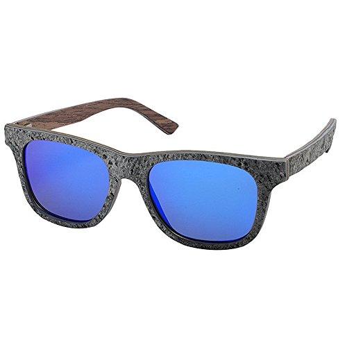Blue Rétro Unisexe Vintage Style Couleur Tons Classique Blue Yxsd de Protection UV400 Deux lentille Lunettes Soleil Cadre Réfléchissante 0TzHw