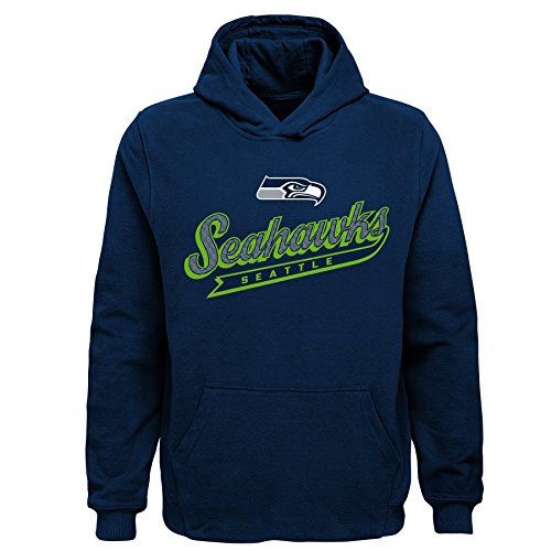 Apparel 14 - Outerstuff NFL Seattle Seahawks Kids & Youth Boys Pioneer Sueded Fan Classic Hoodie, Navy, Youth Large(14-16)