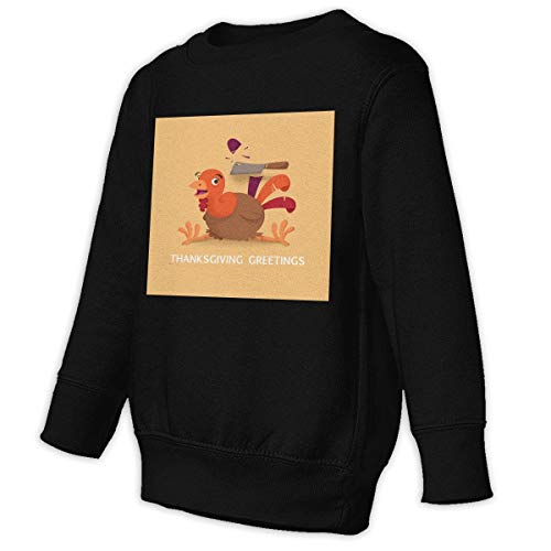 Xgbb Thanksgiving Greetings Turkey Toddler Long Sleeve Pullover Sweatshirt Little Boys' Sweatshirt Black 5/6T]()