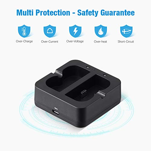 POWXS Ring Batteries Charger, Dual Battery Charger Charging Station for Rechargeable Batteries of Spotlight Cam, Ring Video Doorbell 2, Peephole Cam & Stick Up Cam