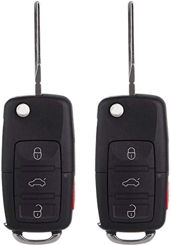 Keyless Entry Remote Flip Car Key Fob fits 2002 2003 2004 2005 VW Jetta HLO1J0959753AM,HLO1J0959753DC Golf Passat 2 Pack