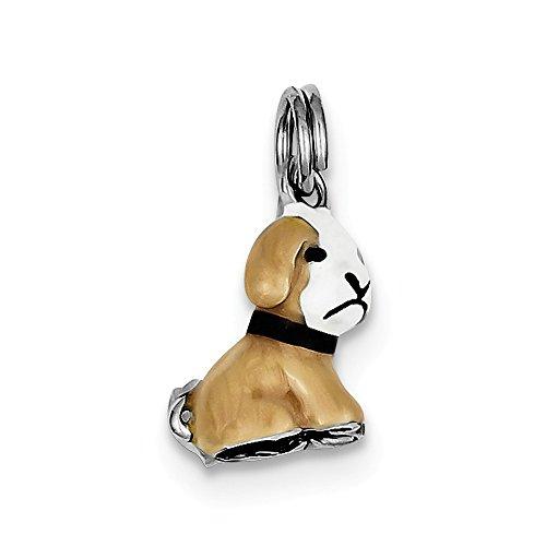- Sterling Silver Solid Polished Open bottom Enamel Dog Charm