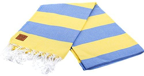 Gold Case Hades 100% Cotton pestemal - Bath & Beach Multi-Purpose Turkish Towel/Throw - 39x70(100x180cm) Peshtemal, Blue_Yellow (Blue Towels And Yellow)