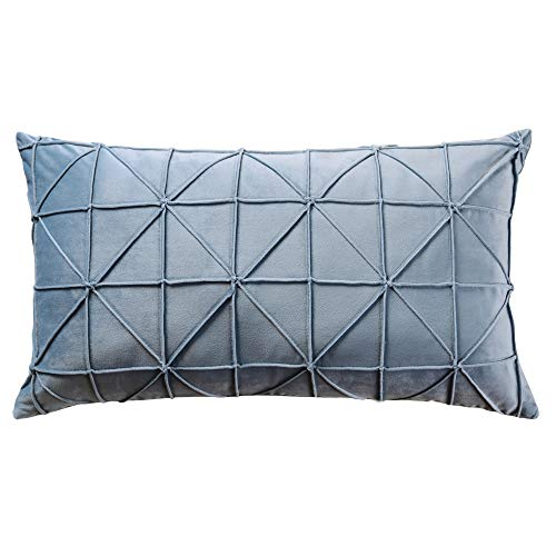 JWH Handmade Geometric Accent Pillow Cases Velvet Cushion Covers Decorative Pillowcases Luxury Shell Home Bed Living Room Decoration Sheets 12 x 20 Inch Light Blue
