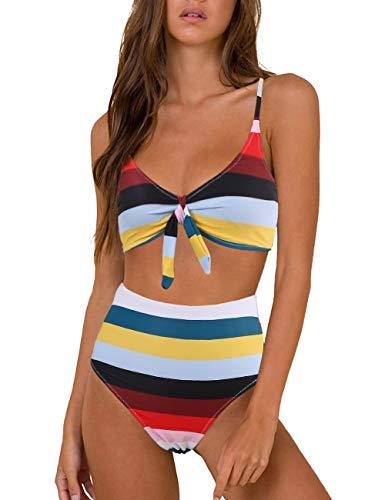 XUNYU High Waisted Bikini Set for Women Swimsuits Push Up Tie Knot Swimwear Two Piece Bathing Suits