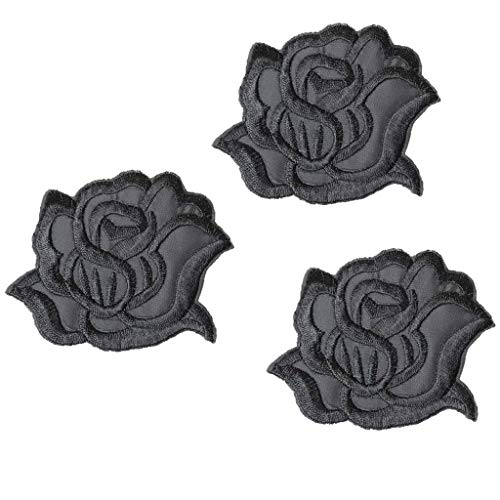 U-Sky Sew or Iron on Patches for Clothes - Black Rose Patch for Shirt, Skirt, Backpacks, Hat - 3pcs Pack - Size: 3.1x2.4 inch ()