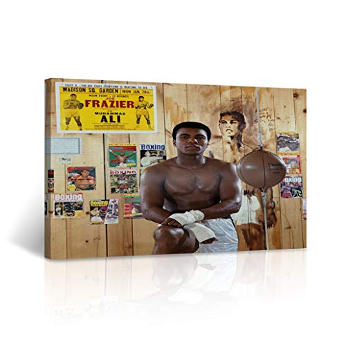 Muhammad Ali Training Pose in The Boxing Hall Canvas Print The Greatest Decorative Inspirational Wall Art Home Decor Artwork -%100 Handmade in The USA 30x40