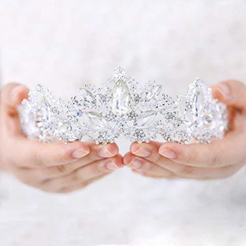Aukmla Wedding Hair Accessories Bride Crowns Flower Queen Tiaras Headpiece for Women (Silver) -