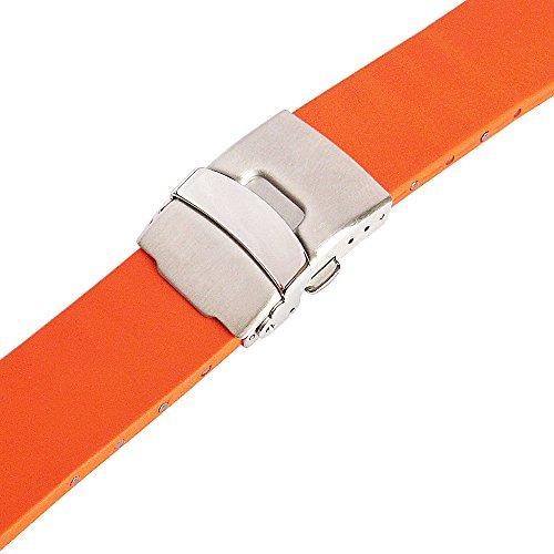 Bonetto Cinturini 20mm Orange Rubber Watch Strap Model (Orange Rubber Watch)