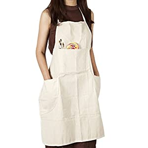 CONDA Cotton Canvas Professional Bib Apron With 4 Pockets for Women Men Adults,Waterproof,Natural 31inch By 27inch
