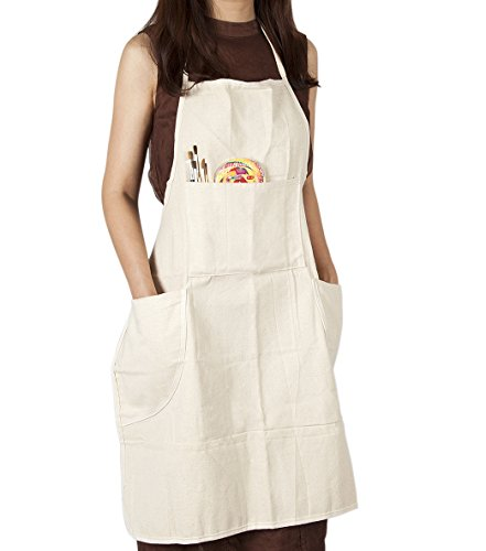 (CONDA Cotton Canvas Professional Bib Apron With 4 Pockets for Women Men Adults,Waterproof,Natural 31inch By)