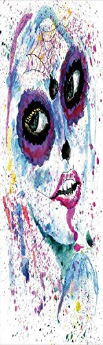 Girls 3D Decorative Film Privacy Window Film No Glue,Frosted Film Decorative,Grunge Halloween Lady with Sugar Skull Make Up Creepy Dead Face Gothic Woman Artsy,for Home&Office,17.7x70.8Inch Blue Purpl ()