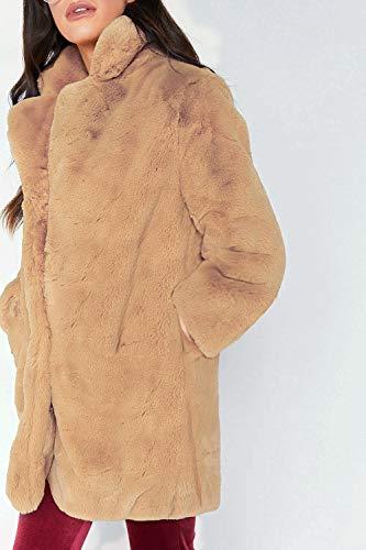Sciolto Sciolto Addensare Eleganti Kamel Puro Puro Casuale Outerwear di Pelliccia Donna di Pelliccia Giovane Giacca Fashion Manica Colore Cappotto Pelliccia Lunga Giaccone Moda Calda Casual Sintetica Donne nCSXB6OS