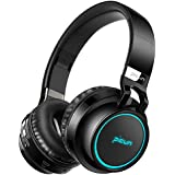 Picun Wireless Bluetooth Headphones LED Foldable Headsets Support 7 Colors Lights 20 Hour Playtime TF Card Hi-Fi Stereo Bluetooth Headsets with Deep Bass Built in Mic for Phone Tablet Laptop TV(Black)