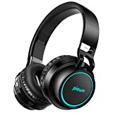 Picun Wireless Bluetooth Headphones LED Foldable Headsets Support 7 Colors Lights 20h Playtime TF Card Over Ear Hi-Fi Stereo Bluetooth Headset Built in Mic Phone Tablet Laptop Mp3/4 (Black)