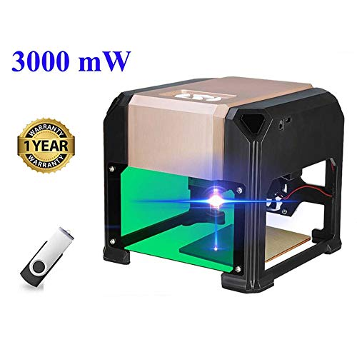 Laser Engraving Machine, 3000mW Mini Desktop Laser Engraver Printer with Carver Size 80 x 80mm, High Speed Laser Engraving Cutter