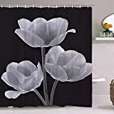 Smurfs Yingda Tulip Flowers Shower Curtain with 12 Hooks, Floral Black and Gray Shower Curtain Plant Polyester Waterproof Fabric Shower Curtain for Bathroom