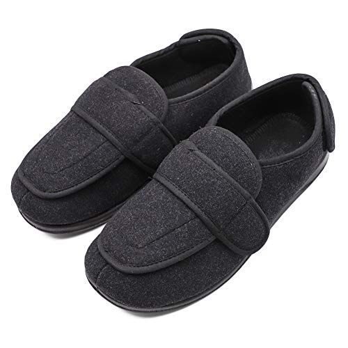 Diabetic Shoe - Men's Extra Extra Wide Width Adjustable Slippers for Edema, Diabetic and Extra Large Swollen Feet Black Size 11 US