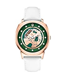 Bulova Accutron II Unisex UHF Watch with Green Dial Analogue Display and White Leather Strap - 97A111
