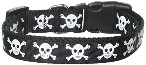 Mirage Pet Products Skulls Nylon Ribbon Dog Collar, Large