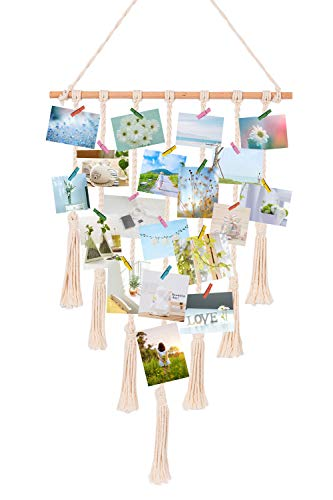 TIMEYARD Macrame Wall Hanging Polaroid Photo Frame Display - DIY Picture Organizer Boho Home Décor, with 30 Wood Clips -