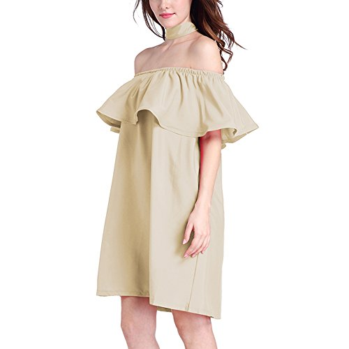 YNYNEW Women's Off Shoulder Ruffle Party Cocktail Swing Dress with Belt (Khaki)
