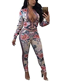 Women's 2 Pieces Outfits Floral Prints Bodycon Sweatsuits Set Tracksuits