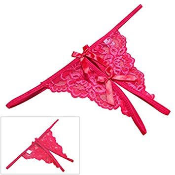 Women Sexy Lace Thong Ropa Interior Open Fork Brief Lady Tanga Bow Knicker Female T-