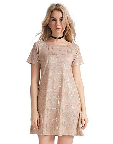 Metallic Shift - OEUVRE Women's Metallic Tunic Dress Dazzling Fashion Shift Dress Brown 12
