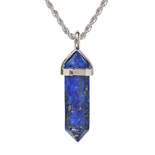 Natural Blue Lapis Gemstone Hexagonal Pointed Reiki Chakra Pendant Necklace 20