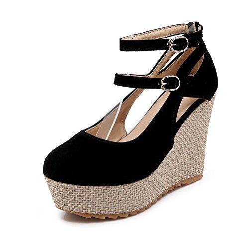 Ronda de Mesa único black Zapatos Zapatos y Sandalias Tacones Zapatos Superficial Damas Impermeable Altos Hueco qSwTInf