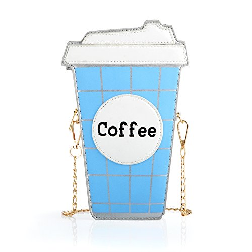 Girl Fashionable Leather Crossbody Bag, Ustyle Creative Small Coffee Cup Bagpack Makeup Pouch Novelty shoulder Bag Cartoon Costume Purse and Wallet for School, Parties,Travel, Teens (Blue) ()