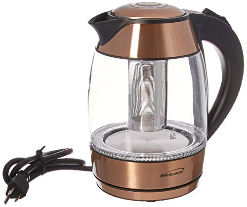 Brentwood KT-1960RG 1.8 Liter Electric Glass Kettle with Tea