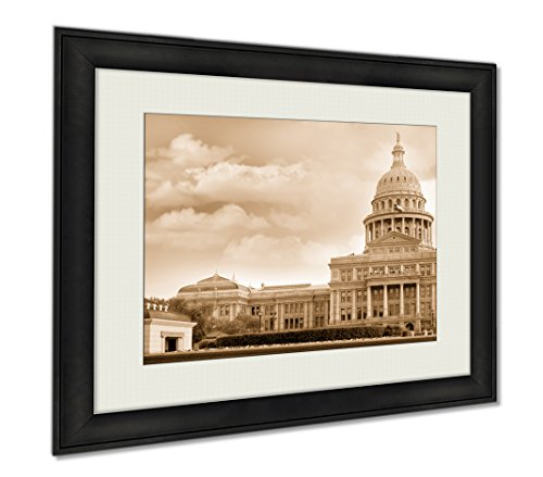 Ashley Framed Prints Capitol Building Austin Texas USA, Wall Art Home Decoration, Sepia, 26x30 (frame size), - Austin Tx Mall