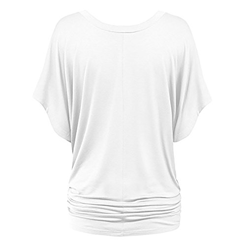 Extensible V Chauve paule Femmes Shirt Blanc Manches Casual Shirt col Solide T Hors Tops T iBaste t souris Courtes Sexy wqH66B