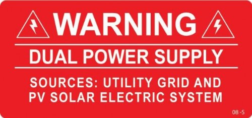 Sporting 3 X Red Warning Dual Supply Solar Label Home Improvement Home & Garden