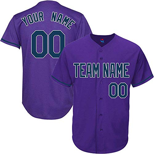 Purple Custom Baseball Jersey for Men Women Youth Throwback Embroidered Team Player Name & Numbers S-5XL ()