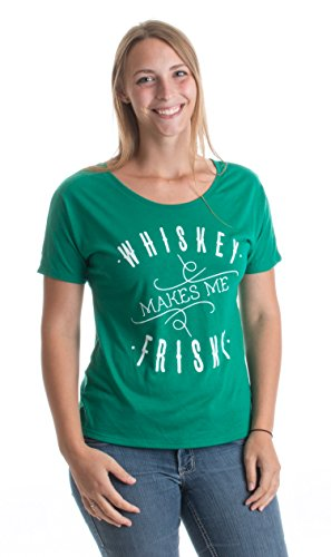 Whiskey Makes Me Frisky | Funny St. Patrick's Open Neck Bar Ladies' T-shirt