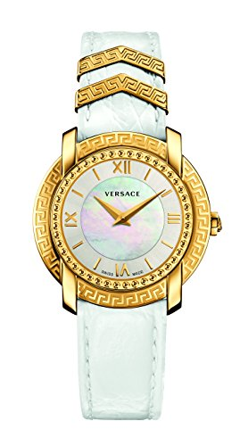 Versace Women's 'DV-25' Swiss Quartz Stainless Steel and Leather Casual Watch, Color:White (Model: VAM010016)