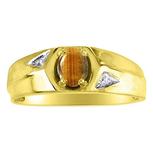 Tiger Eye Ring Sterling Silver or Yellow Gold Plated Silver Band
