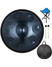 Jolipro Handtrommel met 9 noten, van staal, handpan, instrument met transporttas (blauw)