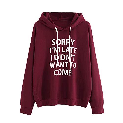 - HGWXX7 Women Hoodie Loose Letter Print Long Sleeve Pullover Tops Blouse Shirt Sweatshirt(S,Wine)