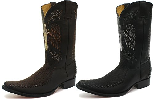 Kverner Kansas Menns Skinn Western Cowboy Boots