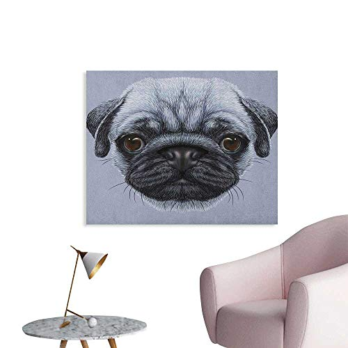 Anzhutwelve Pug Photographic Wallpaper Realistic Style Detailed Young Dog with Cute Giant Eyes Pure Breed Pug Blue Backdrop Wall Poster Slate Blue W36 xL24