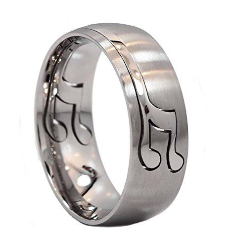 MJ Metals Jewelry 8mm Musical Note Puzzle Ring 316L Surgical Stainless Steel Band Size 10.5