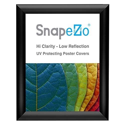 SnapeZo Photo Frame 8x10 Inches, Black 1 Inch Aluminum Profile, Front-Loading Snap Frame, Wall Mounting, Sleek Series