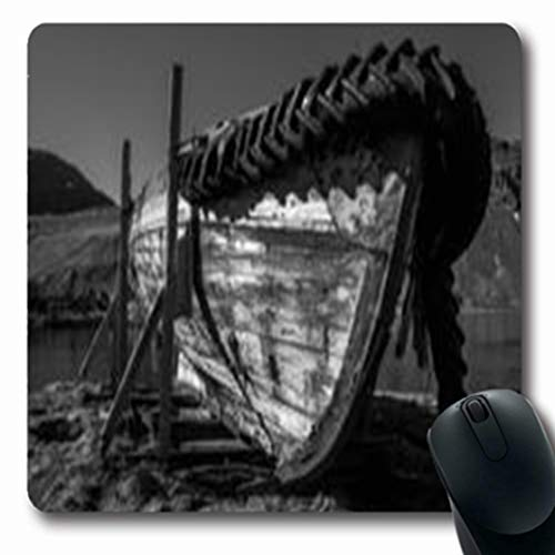 Whaling Boat (Pandarllin Mousepads Bow Mono Abandoned Rowing Whaling Boat On Wooden Antarctic Oblong Shape 7.9 x 9.5 Inches Oblong Gaming Mouse Pad Non-Slip Rubber Mat)